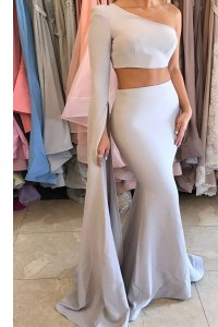 Sumptuous Mermaid One Shoulder Silver Long Sleeves Floor Length Ruching Side Zipper Going Out Dresses