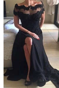 Luxurious Off the Shoulder Black Chiffon Backless Prom Gown Short Sleeves Sweep Train Beading and Lace