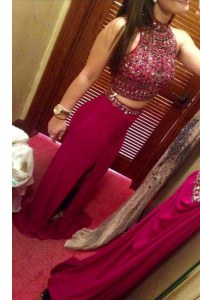 Unique Floor Length Fuchsia Homecoming Dress High-neck Sleeveless Zipper