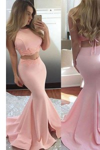 Spectacular Pink Mermaid Scoop Sleeveless Elastic Woven Satin With Train Sweep Train Backless Lace Prom Evening Gown