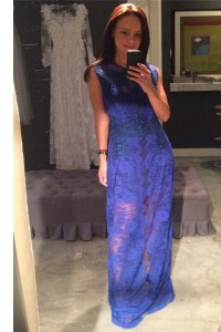Lace Floor Length Royal Blue Prom Evening Gown Scoop Sleeveless Zipper