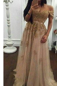 Champagne A-line Off The Shoulder Short Sleeves Tulle With Train Sweep Train Zipper Beading and Appliques Prom Gown