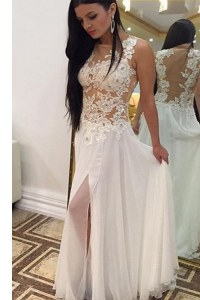 Traditional White Sleeveless Floor Length Beading and Lace Zipper Evening Dresses