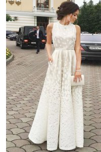 Luxurious Scoop White A-line Pleated Prom Gown Zipper Lace Sleeveless Floor Length