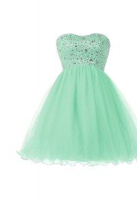 New Arrival Knee Length Apple Green Evening Dress Sweetheart Sleeveless Lace Up