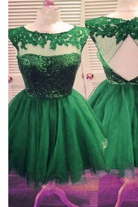 Dark Green Bateau Backless Beading Prom Evening Gown Sleeveless