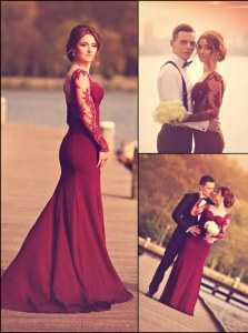 Glittering With Train Burgundy Sweetheart Long Sleeves Court Train Zipper