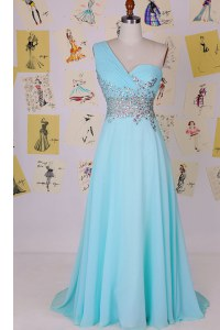 Aqua Blue Side Zipper One Shoulder Beading Prom Gown Chiffon Sleeveless Brush Train