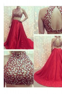 Noble Beading Formal Dresses Red Backless Sleeveless With Train Court Train
