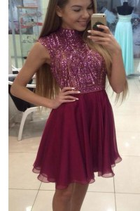 Halter Top Fuchsia Sleeveless Beading Knee Length Homecoming Dress