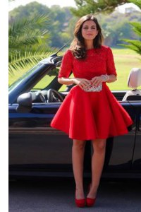 Free and Easy A-line Prom Dresses Red Halter Top Lace Half Sleeves Knee Length Backless