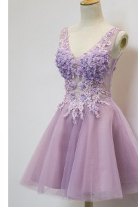Appliques Cocktail Dresses Lavender Zipper Sleeveless Knee Length