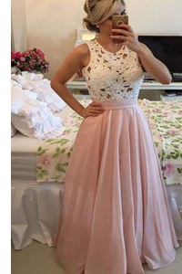 Superior Scoop Pink Chiffon Side Zipper Prom Party Dress Sleeveless Floor Length Lace