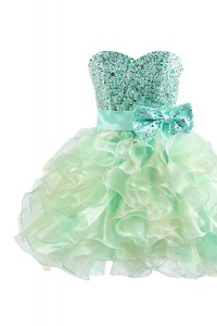Green Ball Gowns Organza Sweetheart Sleeveless Beading and Bowknot Knee Length Lace Up Cocktail Dress