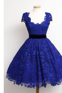Chic Lace Knee Length Royal Blue Winning Pageant Gowns Scoop Cap Sleeves Zipper