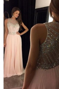 Scoop Sleeveless Chiffon Sweep Train Criss Cross Prom Evening Gown in Pink with Beading