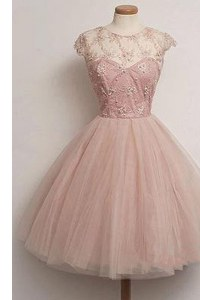 Noble Scoop Pink Cap Sleeves Tulle Zipper Celebrity Dress for Prom and Party