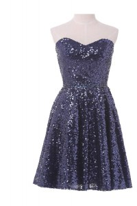Navy Blue Sequined Lace Up Homecoming Dress Online Sleeveless Knee Length Sequins