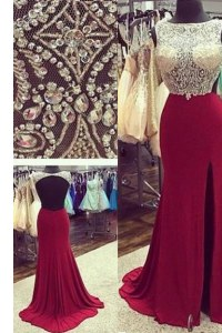 A-line Sleeveless Burgundy Prom Dress Brush Train Backless
