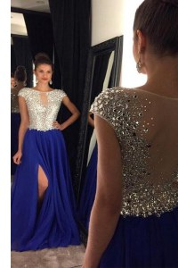 Royal Blue A-line Chiffon Bateau Sleeveless Beading Side Zipper Sweep Train