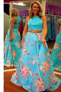 Halter Top Aqua Blue A-line Lace and Embroidery Dress for Prom Zipper Satin Sleeveless