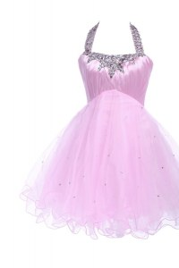Shining Halter Top Lilac Sleeveless Knee Length Beading Lace Up Red Carpet Prom Dress
