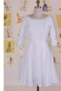 Delicate White Scoop Zipper Ruching Prom Dresses Half Sleeves