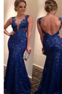 V-neck Sleeveless Lace Prom Gown Lace Brush Train Backless