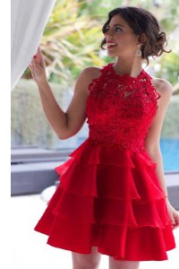 Halter Top Lace and Ruffled Layers Prom Party Dress Red Zipper Sleeveless Knee Length