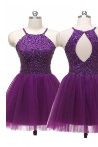 Fashion Purple A-line Scoop Sleeveless Tulle Mini Length Zipper Sequins Evening Dress
