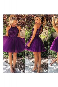Knee Length Backless Dress for Prom Purple for Prom and Party with Beading and Ruching