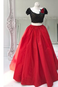 Fancy V-neck Short Sleeves Evening Dress Floor Length Beading and Ruffles Red Organza