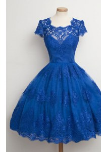 Great Scalloped Cap Sleeves Zipper Knee Length Lace Prom Party Dress