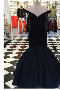 Mermaid Floor Length Black Homecoming Dress Off The Shoulder Short Sleeves Zipper