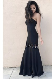 Fancy Black Mermaid Strapless Sleeveless Elastic Woven Satin Floor Length Zipper Ruching Evening Party Dresses