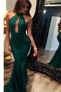 Mermaid Halter Top Sleeveless Sweep Train Backless Evening Dress Green Elastic Woven Satin