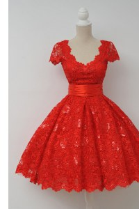Fine Scalloped Red Cap Sleeves Lace Zipper Club Wear for Prom and Party