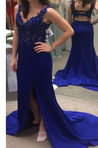 Royal Blue Backless V-neck Beading and Appliques Prom Dresses Satin Sleeveless Sweep Train