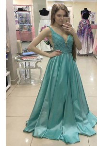 Green Sleeveless Satin Sweep Train Zipper Prom Gown for Prom