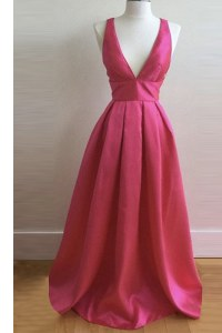 Hot Pink Criss Cross V-neck Pleated Prom Dresses Satin Sleeveless