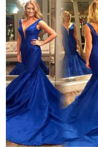 Pleated Court Train Mermaid Homecoming Dress Royal Blue V-neck Satin Sleeveless Zipper