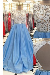 Scoop Cap Sleeves Beading and Lace Backless Prom Party Dress with Blue Sweep Train