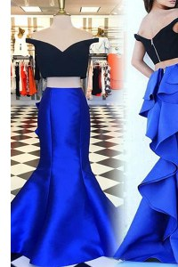 Comfortable Sweep Train Mermaid Prom Gown Royal Blue Off The Shoulder Satin Short Sleeves With Train Zipper