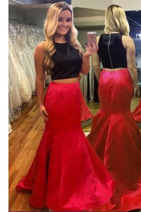 Red And Black Mermaid Satin Scoop Sleeveless Ruching Floor Length Zipper