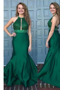 Customized Mermaid Halter Top Green Sleeveless Sweep Train Beading and Lace With Train Prom Dress