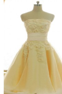 Strapless Sleeveless Zipper Homecoming Dress Yellow Satin and Chiffon