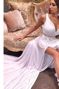 White A-line Beading and Ruching Juniors Evening Dress Zipper Satin and Elastic Woven Satin Sleeveless