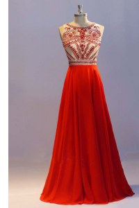 Scoop Coral Red Chiffon Side Zipper Homecoming Dress Sleeveless Floor Length Beading and Pleated