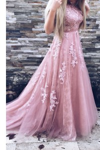 Elegant Pink A-line Scoop Sleeveless Tulle Sweep Train Zipper Appliques and Sashes ribbons Prom Evening Gown