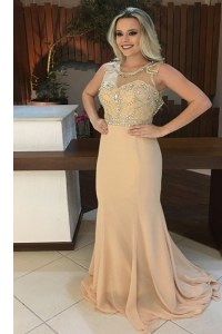 Fantastic Mermaid Scoop Beading Prom Gown Champagne Backless Sleeveless Sweep Train